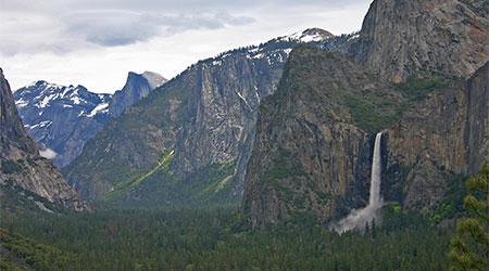 Bridalveil Falls from Tunnel view with Half Dome